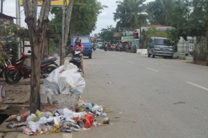KAPOK. Akhirnya setelah seminggu dibiarkan, tumpukan sampah di Jalan Padat Karya akan diangkut DKP besok. (Ajang Araya - Hello Borneo)