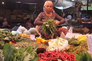 TERDESAK. Mbah Mul salah satu penjual sayur di Pasar Senaken, yang terpaksa menikan harga lantaran mengikuti harga yang dijual para petani sayur. (Ajang Araya - Hello Borneo)