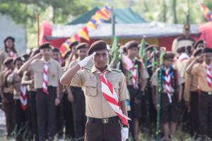 Upacara pembukaan perkemahan HUT Pramuka ke-54 di Kabupaten Penajam Paser Utara (Suherman - Hello Borneo)