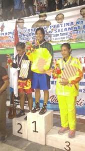 Odorkasih Pasaribu, petinju putri asal Kabupaten Penajam Paser Utara, berhasil meraih medali emas (Ist)