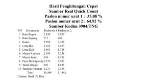 Hasil Quick Count Pilkada Paser. (Litbang - Hello Borneo)