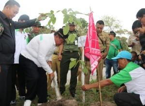 Bupati Penajam Paser Utara, Yusran Aspar saat melakukan penanaman pohon (Subur Priono - Humas Setkab Penajam Paser Utara)