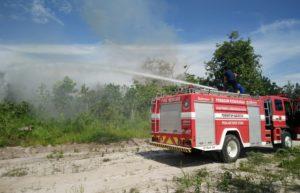 Petugas pemadam kebakaran memadamkan api di areal lahan Pemerintah Kabupaten Penajam Paser Utara yang terbakar pada Sabtu siang (AH Ari B - Hello Borneo)